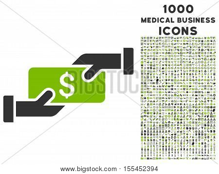 Payment vector bicolor icon with 1000 medical business icons. Set style is flat pictograms, eco green and gray colors, white background.