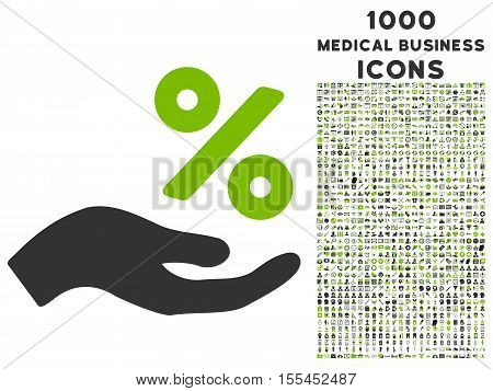 Percent Offer Hand vector bicolor icon with 1000 medical business icons. Set style is flat pictograms, eco green and gray colors, white background.