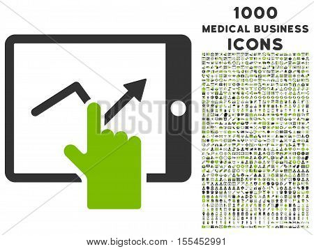 Tap Trend on Pda vector bicolor icon with 1000 medical business icons. Set style is flat pictograms, eco green and gray colors, white background.