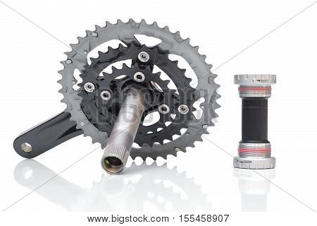 Bicycle crank for mountain bike with bottom brackets