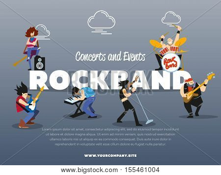Concerts and events rockband banner vector illustration. Singer, guitarist, drummer, solo guitarist, bassist, keyboardist characters performs on stage. Rock star. music group with musicians concept.
