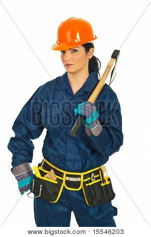 Worker Woman With Hatchet