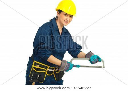 Worker Woman With Saw