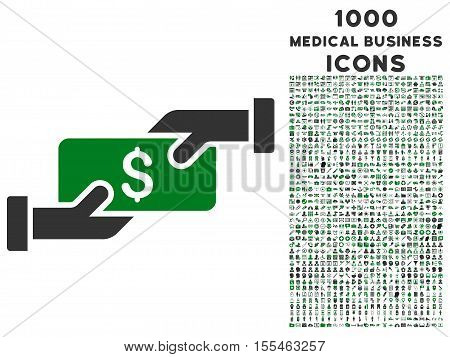 Payment vector bicolor icon with 1000 medical business icons. Set style is flat pictograms, green and gray colors, white background.