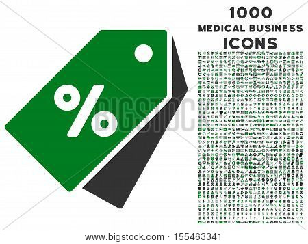 Percent Discount Tags vector bicolor icon with 1000 medical business icons. Set style is flat pictograms, green and gray colors, white background.