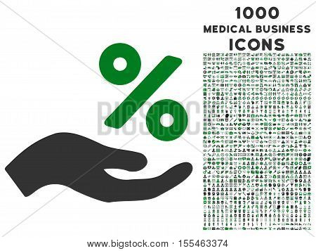 Percent Offer Hand vector bicolor icon with 1000 medical business icons. Set style is flat pictograms, green and gray colors, white background.