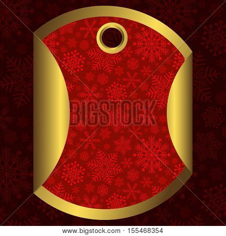 Round red and gold banner with snowflakes and a through hole for the Christmas sales vector
