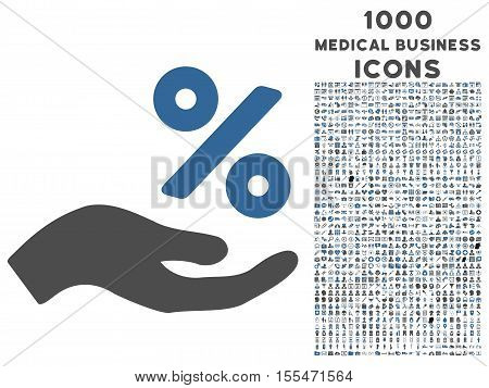 Percent Offer Hand vector bicolor icon with 1000 medical business icons. Set style is flat pictograms, cobalt and gray colors, white background.
