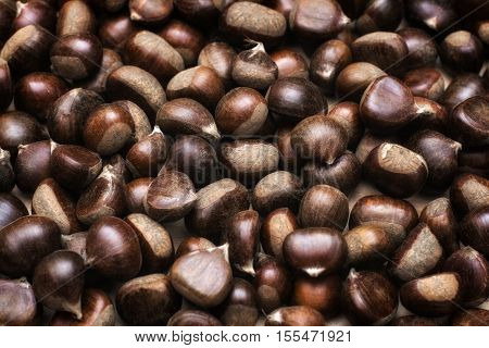 Chestnuts background. Brown ripe autumn chestnuts background