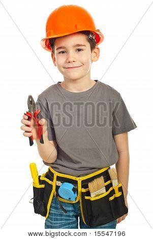 Kid Boy Giving Pliers