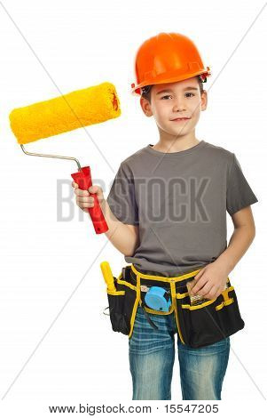 Happy Kid Boy Holding Paint Roller