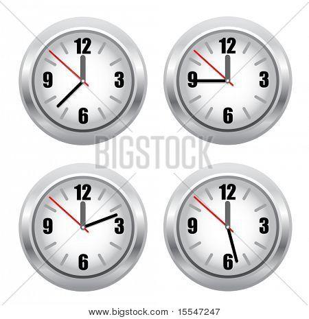 set of standard clockface. vector illustracion