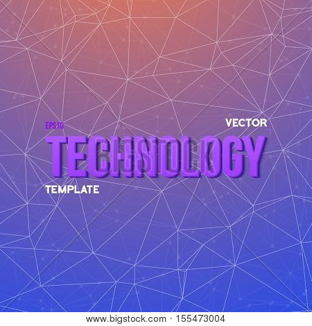 Illustration of Vector Wireframe Technology Background. Chemistry Molecule Connections. Network Connections Science Template