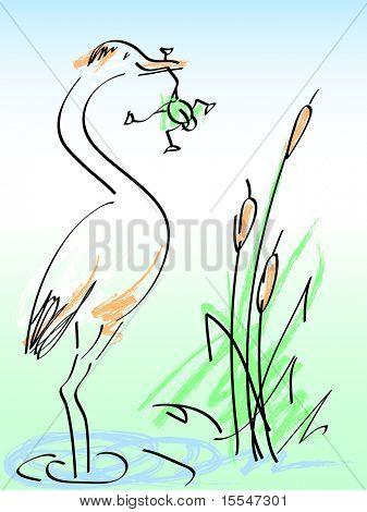 heron and frog. vector cartoon