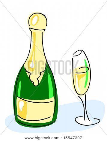 Champagne bottle, glass. vector illustration