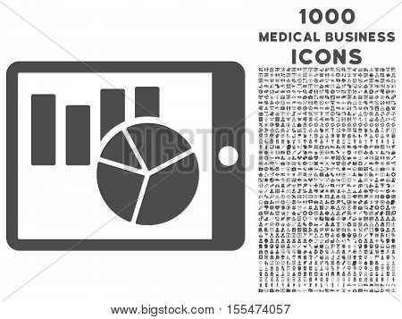 Charts on Pda vector icon with 1000 medical business icons. Set style is flat pictograms, gray color, white background.
