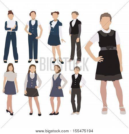 Vector set of pupils silhouette in school uniform isolated on white background. Female school dress code clothes.