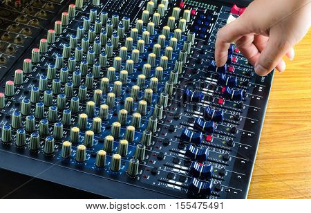 Live Sound Mixers and music studio equalizer, equip, event, hand