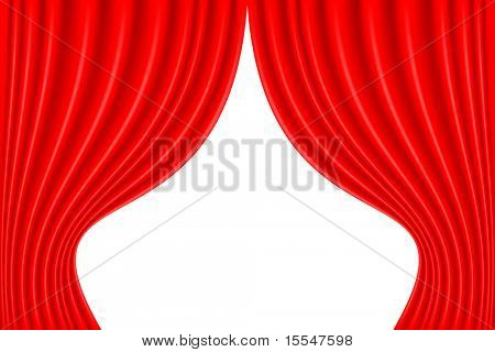 red theater curtain open on white