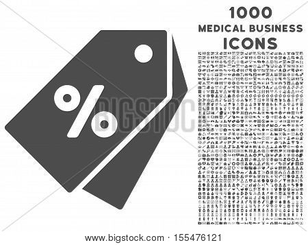 Percent Discount Tags vector icon with 1000 medical business icons. Set style is flat pictograms, gray color, white background.
