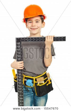 Boy Holding L Square Ruler