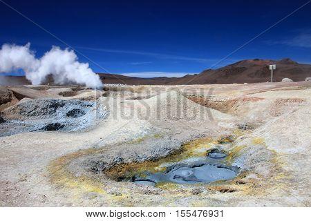 Sol de manana geyser field, southern Bolivia