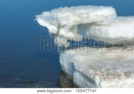 Spring flooding ice water Early spring on the river. Russia Tatarstan Kama river in early spring