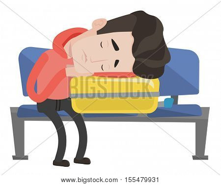 Tired caucasian passenger sleeping on luggage in airport. Exhausted man sleeping on suitcase at airport. Passenger sleeping on suitcase. Vector flat design illustration isolated on white background.