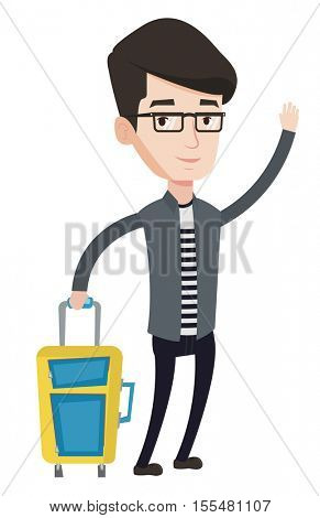 Caucasian man with suitcase hitchhiking. Hitchhiking man trying to stop a car on a highway. Young man catching taxi car by waving hand. Vector flat design illustration isolated on white background.