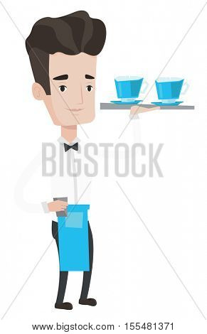 Young waiter holding a tray with cups of tea or coffee. Caucasian friendly waiter standing with tray with cups of hot flavoured coffee. Vector flat design illustration isolated on white background.