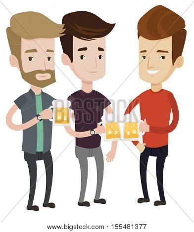 Beer fans toasting and clinking glasses of beer. Caucasian men clanging glasses of beer. Friends enjoying a beer at pub. Men drinking beer. Vector flat design illustration isolated on white background