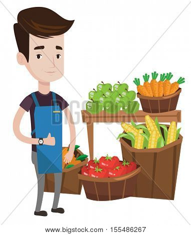 Supermarket worker giving thumb up. Supermarket worker standing on the background of shelves with vegetables and fruits in supermarket. Vector flat design illustration isolated on white background.