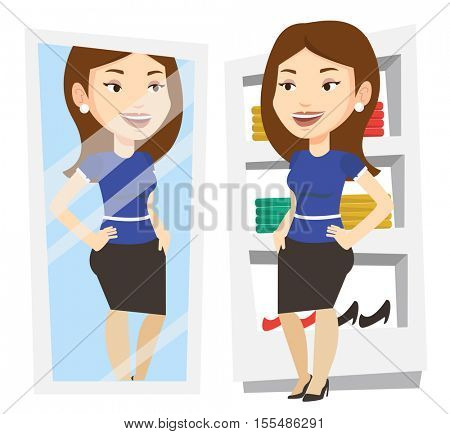 Young woman looking at herself in mirror in dressing room. Girl trying on skirt in dressing room. Woman choosing clothes in dressing room. Vector flat design illustration isolated on white background.
