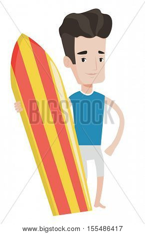 Caucasian surfer standing with a surfboard. Professional surfer holding a surf board. Illustration of full length of surfer with surfboard. Vector flat design illustration isolated on white background