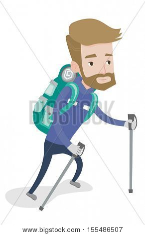 Hipster mountaneer climbing a snowy ridge. Young mountaineer climbing a mountain. Mountaineer with backpack walking up along a snowy ridge. Vector flat design illustration isolated on white background