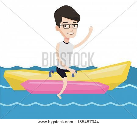 Tourists riding a banana boat and waving hand. Young caucasian man having fun on banana boat in the sea. Man enjoying ride on banana boat. Vector flat design illustration isolated on white background.
