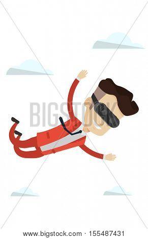 Businessman wearing virtual reality headset and flying in sky. Man in virtual reality headset having fun while flying in virtual reality. Vector flat design illustration isolated on white background.