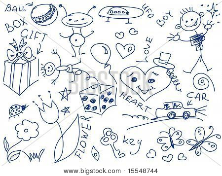 simple drawing childrens doodles vector