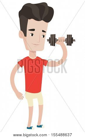 Young man lifting a heavy weight dumbbell. Caucasian strong sportsman doing exercise with dumbbell. Male weightlifter holding dumbbell. Vector flat design illustration isolated on white background.