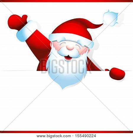 Cheerful Santa Claus raised his hand up in greeting. Bearded grandpa holds blank banner with space for your text. Vector illustration 10 EPS