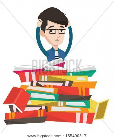 Caucasian student sitting in huge pile of books. Exhausted student read up for examinations with books. Stressed student reading books. Vector flat design illustration isolated on white background.