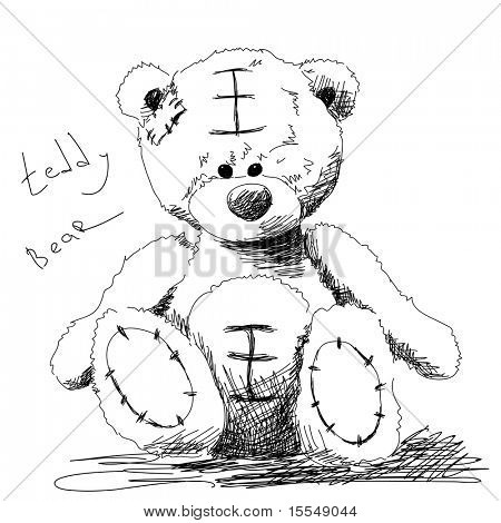 Teddybär doodle Vektor