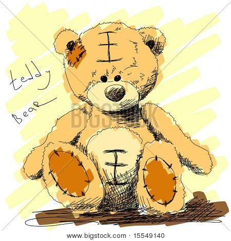 Teddy bear doodle Vector. Visit my portfolio for big collection of doodles