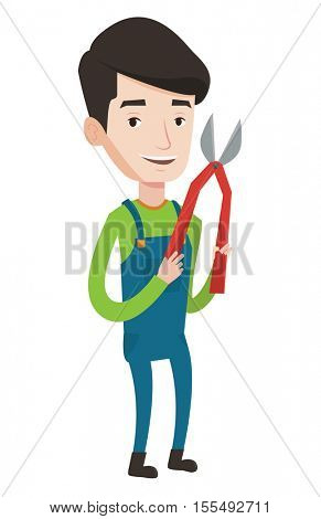 Caucasian gardener holding a pruner. Happy gardener is going to trim branches of a tree with a pruner. Gardener working with a pruner. Vector flat design illustration isolated on white background.