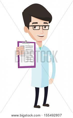 Young male doctor showing clipboard with prescription. Doctor in medical gown holding clipboard. Caucasian doctor with patient records. Vector flat design illustration isolated on white background.
