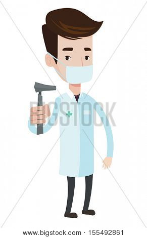 Ear nose throat doctor holding medical tool. Young doctor in medical gown and mask with tools used for examination of ear, nose, throat. Vector flat design illustration isolated on white background.