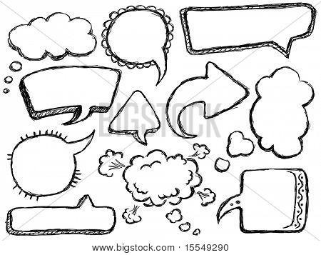 Hand getrokken toespraak en tekstballonnen. Bekijk mijn portfolio voor grote collectie van doodles