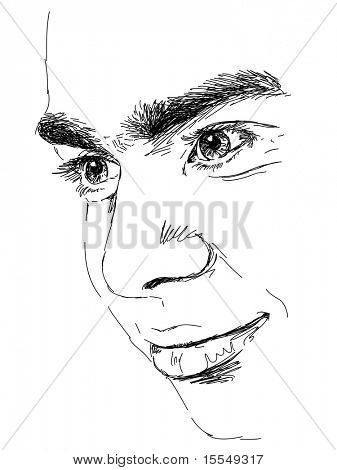 Hand-drawn mans face. Vector. Visit my portfolio for big collection of doodles
