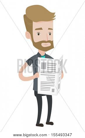 Hipster man with the beard reading the newspaper. Young smiling man reading good news in newspaper. Man standing with newspaper in hands. Vector flat design illustration isolated on white background.
