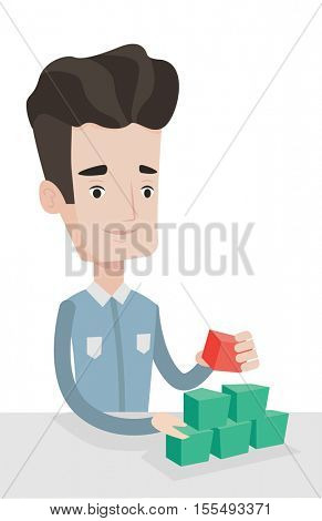 Young man making pyramid of social network avatars. Caucasian man building his social network. Social network and communication concept. Vector flat design illustration isolated on white background.